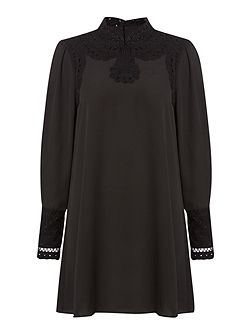 Biba Lace detail long sleeve shift dress