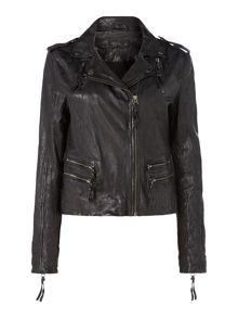 Label Lab Washed leather biker jacket