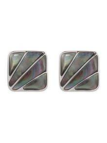 Mother of pearl deco fan cufflinks and pen set