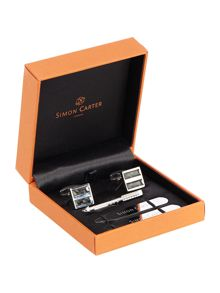 Cufflinks, tie slide & collar stiffener gift set