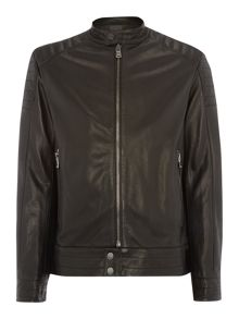 Hugo Boss Zip Up Cow Leather Biker