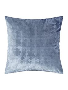 Linea Geometric velvet cushion, blue