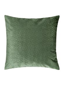 Linea Geometric velvet cushion, green