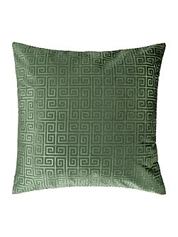 Geometric velvet cushion, green