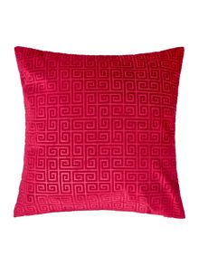 Linea Geometric velvet cushion, raspberry