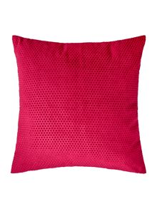 Spot velvet cushion, raspberry