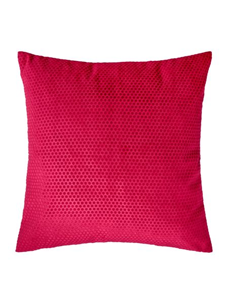 Linea Spot velvet cushion, raspberry
