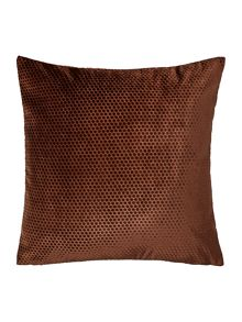 Spot velvet cushion, chocolate