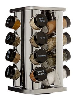 Stainless steel 16 pc filled spice rack