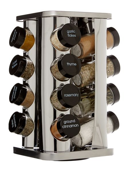 Linea Stainless steel 16 pc filled spice rack