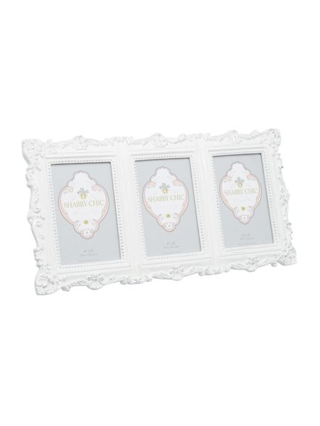 Shabby Chic White resin 3 multi aperture