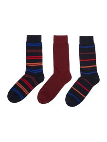Pringle 3 pack stripe socks
