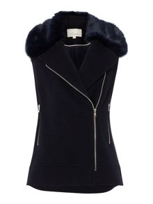 Faux fur collar sleeveless biker jacket