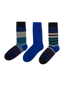 Pringle 3 pack multi stripe sock