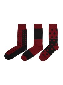 Pringle 3 pack spot & stripe sock