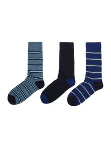Pringle 3 pack dual stripe sock