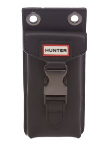 Hunter Rubberised leather black phone pouchette
