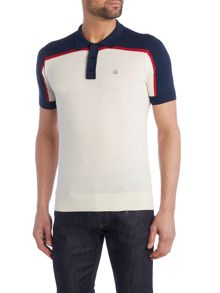 Mens knitted contrast panel polo