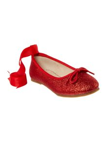 Angel's Face Girls glitter ballet pump with ribbon bow