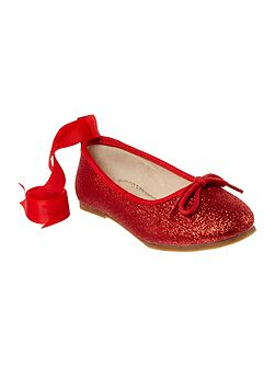 Girls glitter ballet pump with ribbon bow