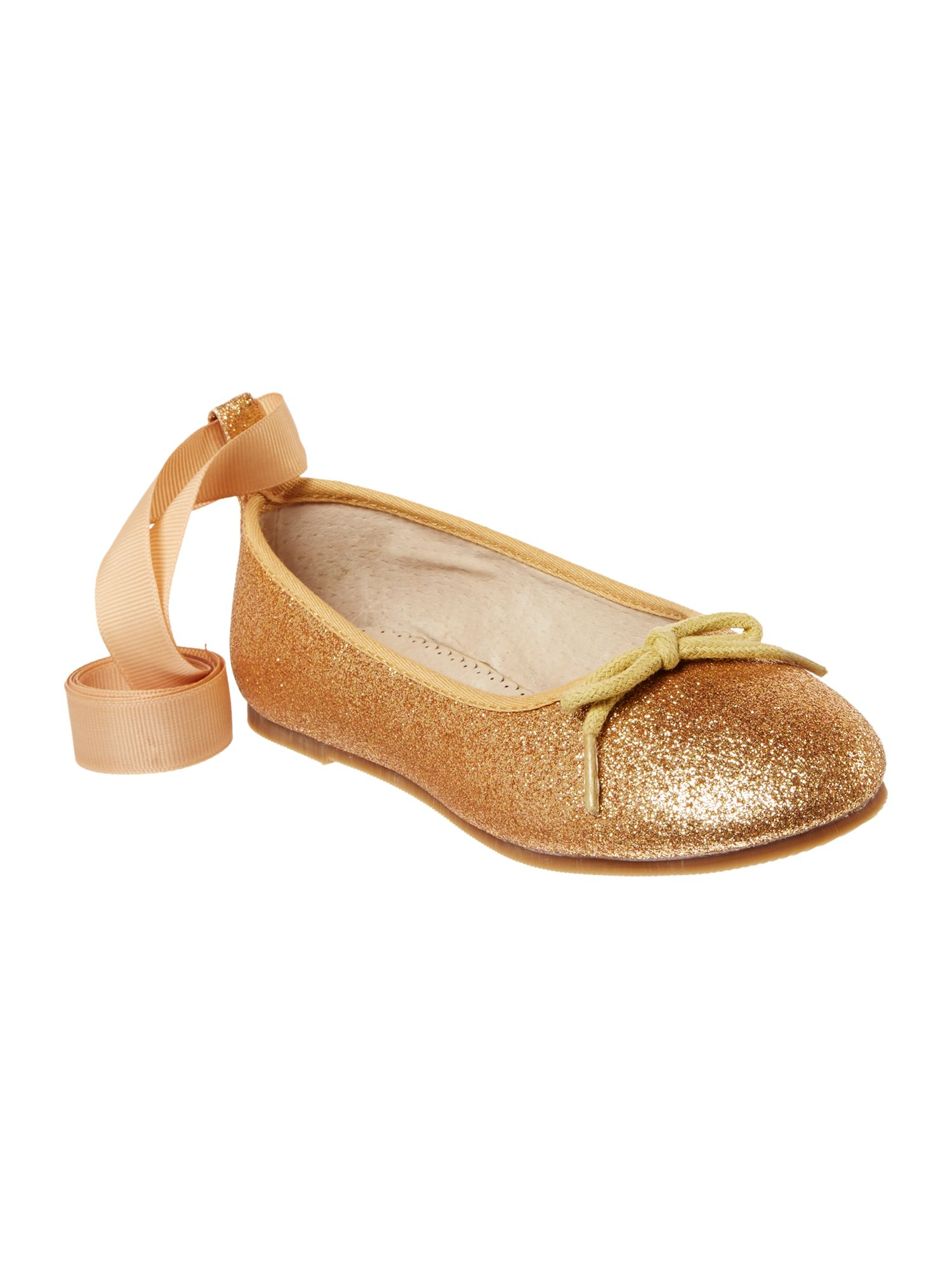 Angel's Face Angel's Face Girls glitter ballet pump with ribbon bow, Gold