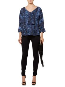 V-neck snake print layered blouse
