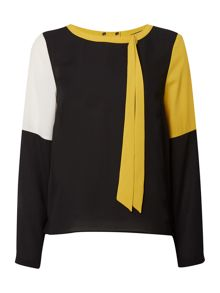 Colourblock draped back blouse
