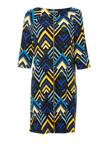 Biba Zip front printed jersey dress