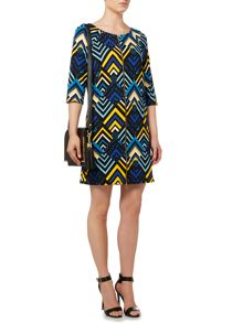 Zip front printed jersey dress