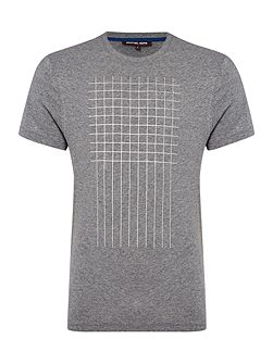 Regular fit grid check printed t shirt