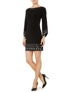 Grommet embellished hem dress