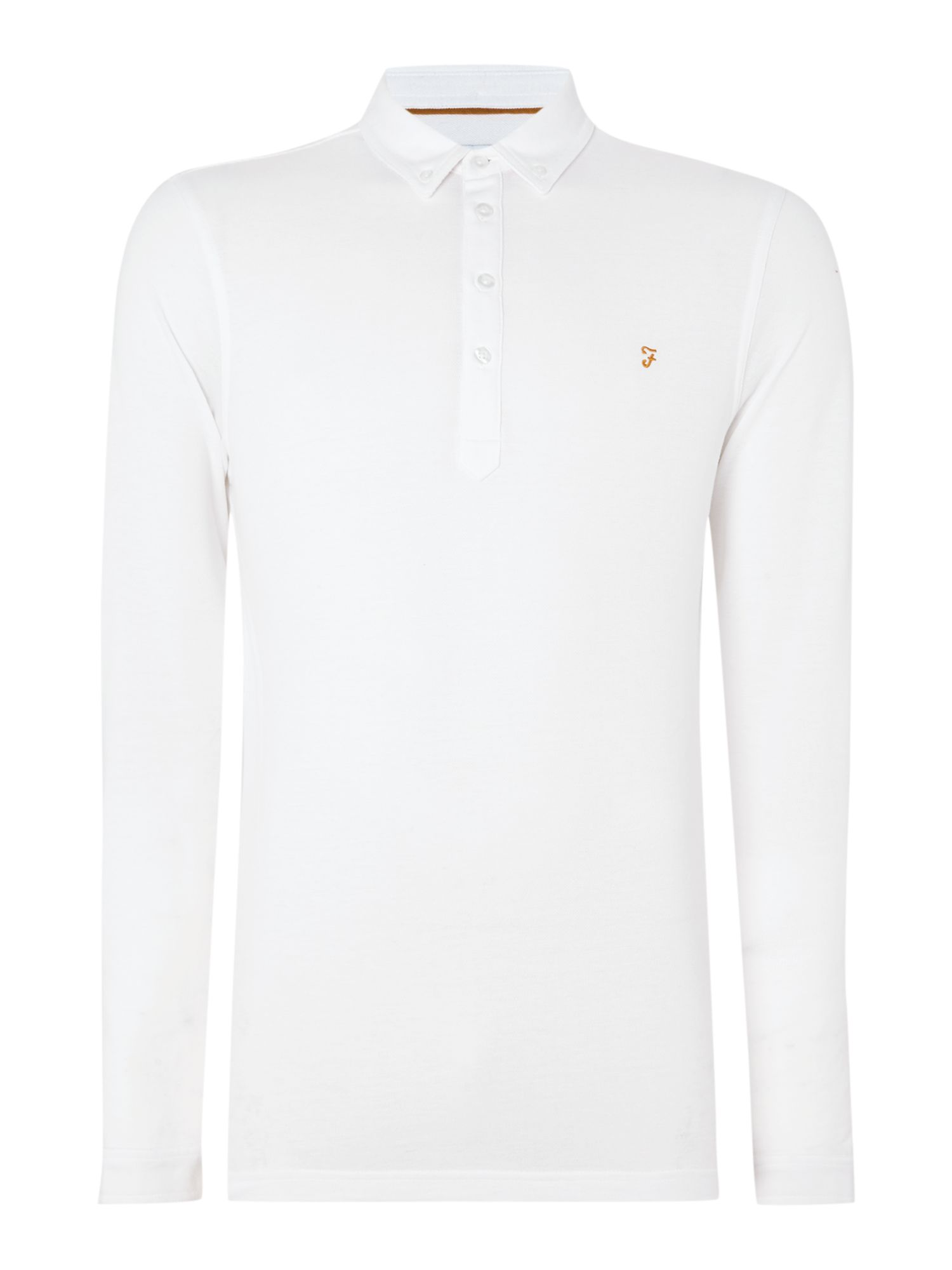 Men's Farah Merriweather regular fit long sleeve polo shirt, White