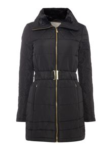 Vero Moda Long Sleeved Belted Puffa Jacket with Fur Hood