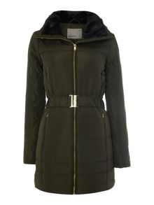 Long Sleeved Belted Puffa Jacket with Fur Hood