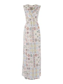 BRAINTREE V neck printed maxi dress