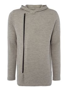 Zip Through Hooded Knitted Jumper