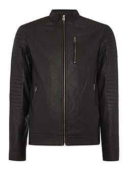 Zip-Through Faux-Leather Biker Jacket