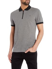 Regular fit zip neck pique polo shirt