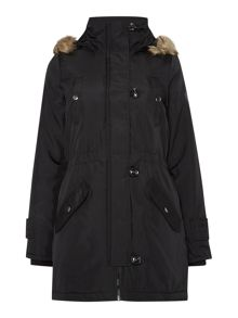Long Parka with Fur Trim