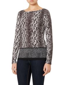 Michael Kors Long sleeve anaconda print top