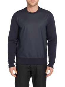 Michael Kors PU Coated crew neck side zip sweatshirt