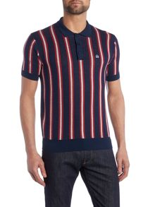 Merc Mens knitted boating stripe polo