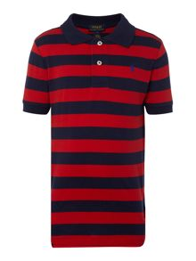 Boys Stripe  Logo Mesh Polo Shirt