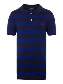 Polo Ralph Lauren Boys Stripe  Logo Mesh Polo Shirt