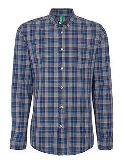 Men's Benetton Mens Tartan Long Sleeve Button Down