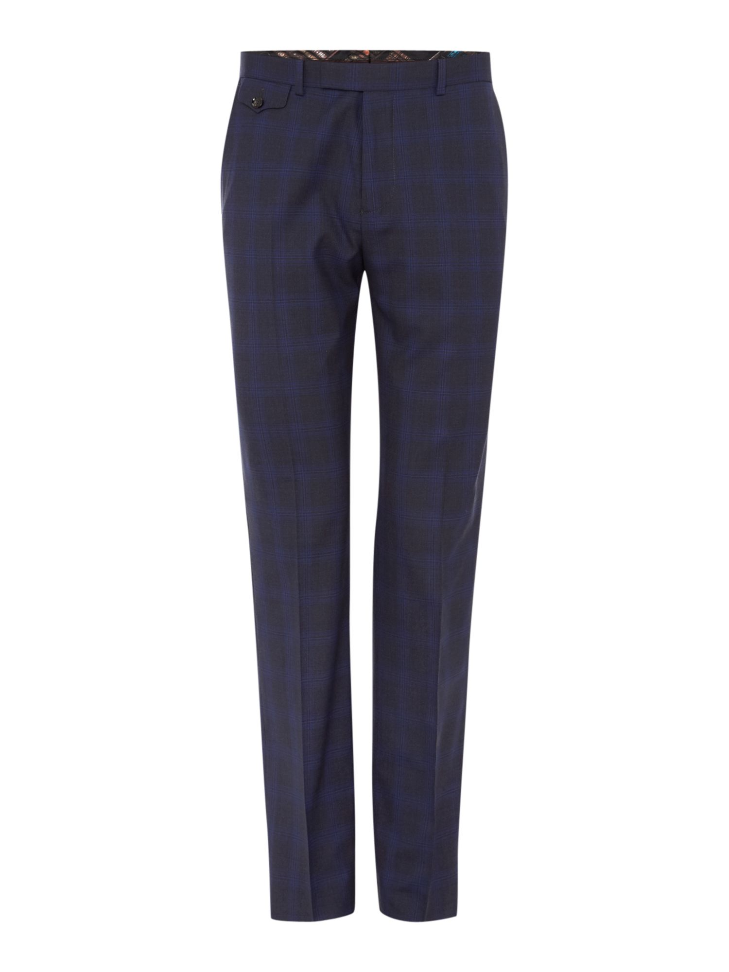Mens Ted Baker Restor Tonal Check Trousers Charcoal