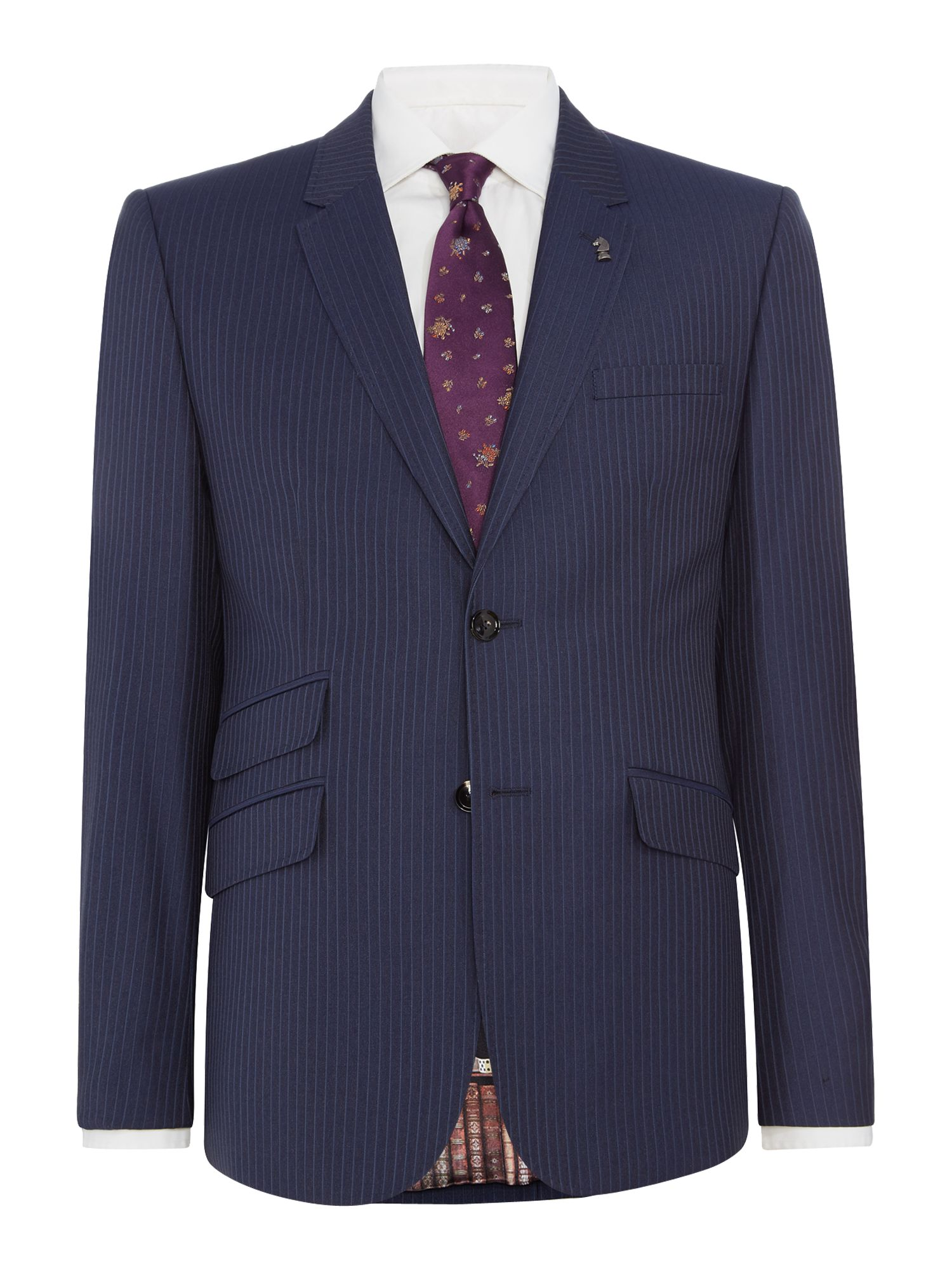 Mens Ted Baker Carpes Slim Stripe Suit Jacket Navy