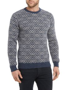 Benetton Mens Printed Crew Neck Jumper