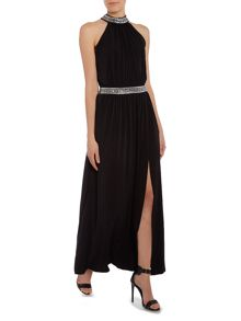Sleeveless rhinestone maxi dress