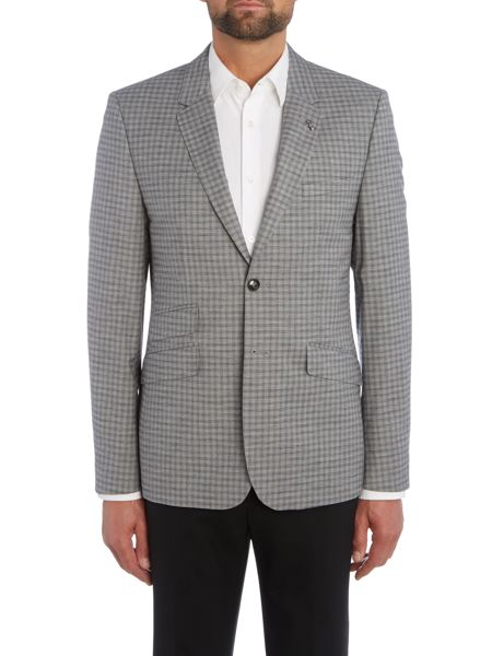 Ted Baker Tench Slim Grey Check Suit Jacket